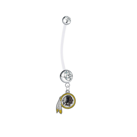 Washington Redskins Pregnancy Maternity Clear Belly Button Navel Ring - Pick Your Color