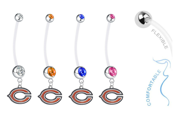 Chicago Bears Pregnancy Maternity Belly Button Navel Ring - Pick Your Color