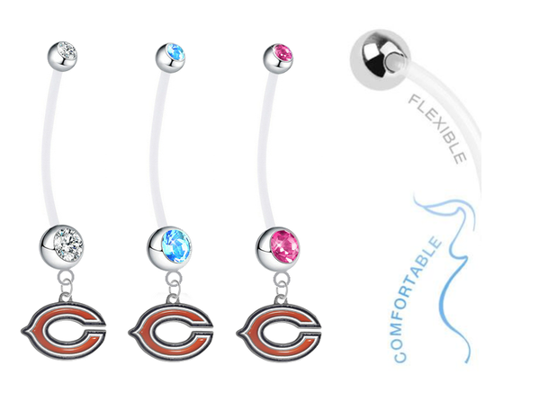 Chicago Bears Boy/Girl Pregnancy Maternity Belly Button Navel Ring