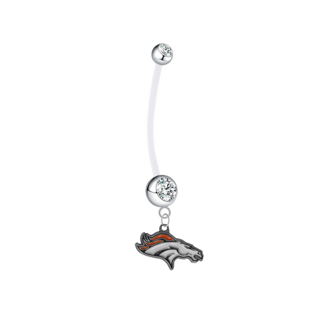 Denver Broncos Pregnancy Maternity Clear Belly Button Navel Ring - Pick Your Color
