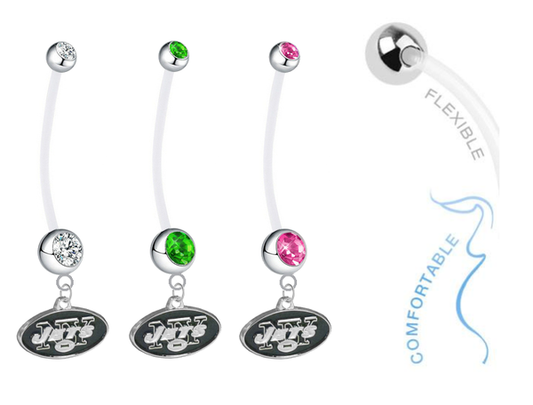 New York Jets Pregnancy Maternity Belly Button Navel Ring - Pick Your Color