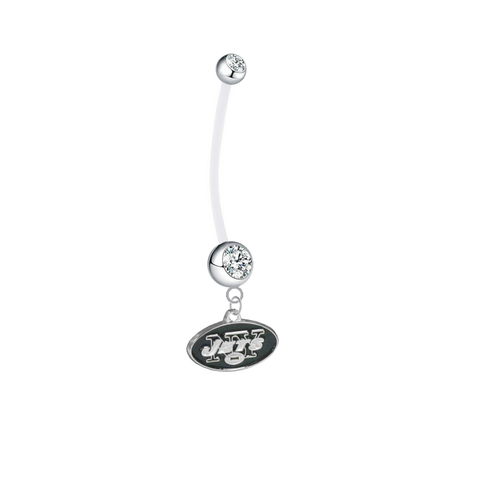 New York Jets Pregnancy Maternity Clear Belly Button Navel Ring - Pick Your Color