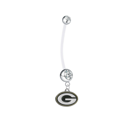 Green Bay Packers Pregnancy Maternity Clear Belly Button Navel Ring - Pick Your Color