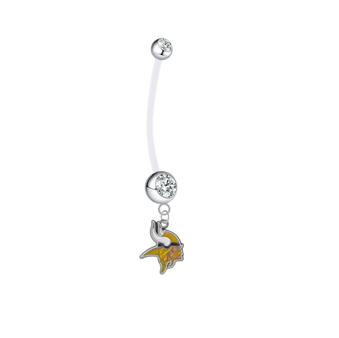 Minnesota Vikings Pregnancy Maternity Clear Belly Button Navel Ring - Pick Your Color