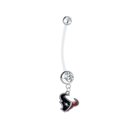 Houston Texans Pregnancy Clear Maternity Belly Button Navel Ring - Pick Your Color
