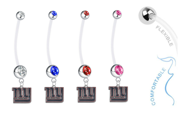 New York Giants Pregnancy Maternity Belly Button Navel Ring - Pick Your Color