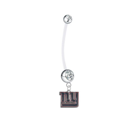 New York Giants Pregnancy Maternity Clear Belly Button Navel Ring - Pick Your Color