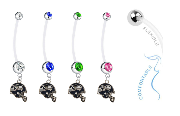 Seattle Seahawks Helmet Pregnancy Maternity Belly Button Navel Ring - Pick Your Color