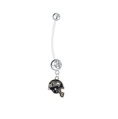 Seattle Seahawks Helmet Pregnancy Maternity Clear Belly Button Navel Ring - Pick Your Color