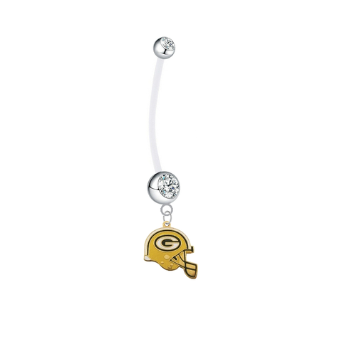 Green Bay Packers Helmet Pregnancy Maternity Clear Belly Button Navel Ring - Pick Your Color