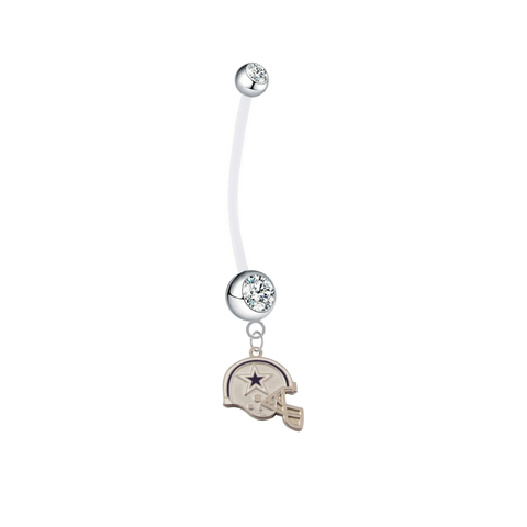Dallas Cowboys Helmet Pregnancy Maternity Clear Belly Button Navel Ring - Pick Your Color