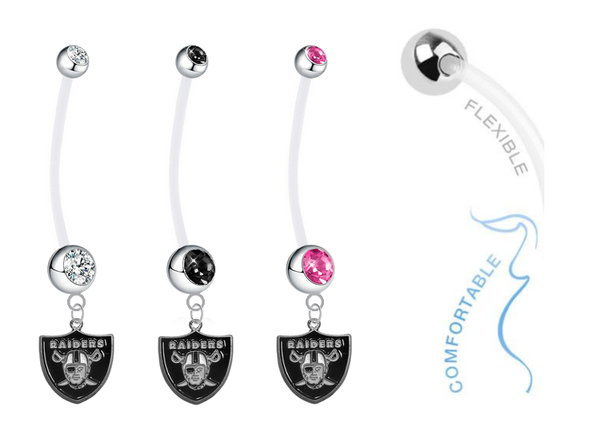 Oakland Raiders Pregnancy Clear Maternity Belly Button Navel Ring - Pick Your Color