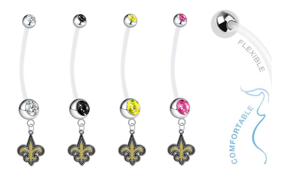 New Orleans Saints Pregnancy Maternity Belly Button Navel Ring - Pick Your Color