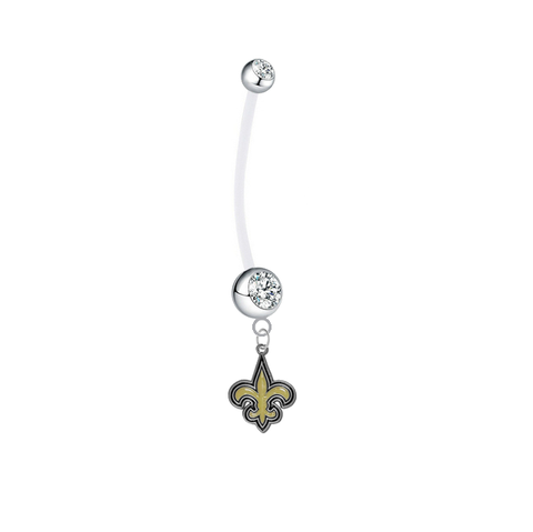 New Orleans Saints Pregnancy Maternity Clear Belly Button Navel Ring - Pick Your Color
