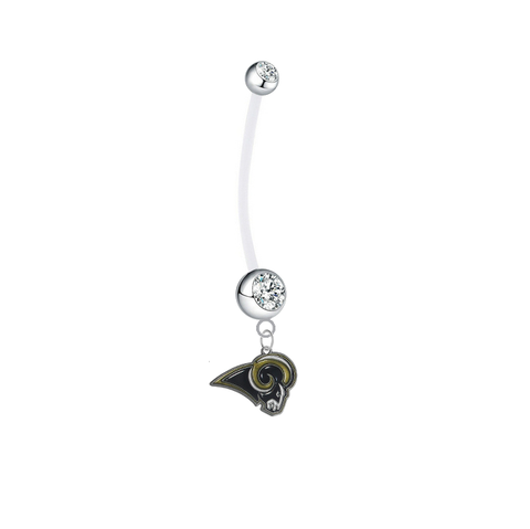 Los Angeles Rams Pregnancy Maternity Clear Belly Button Navel Ring - Pick Your Color