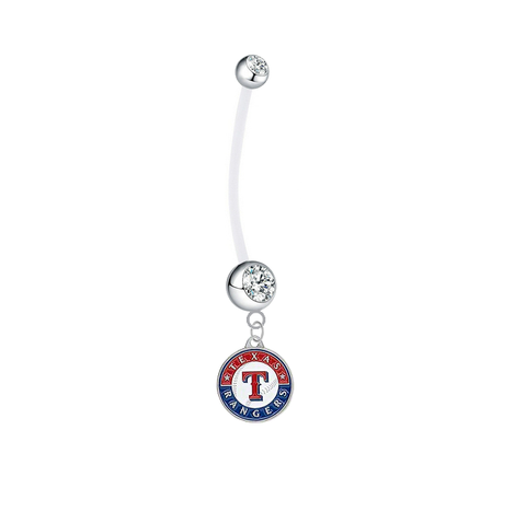 Texas Rangers Pregnancy Maternity Clear Belly Button Navel Ring - Pick Your Color