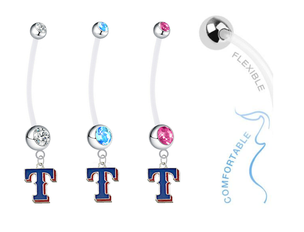 Texas Rangers Style 2 Boy/Girl Pregnancy Maternity Belly Button Navel Ring