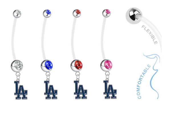 Los Angeles Dodgers Pregnancy Maternity Belly Button Navel Ring - Pick Your Color