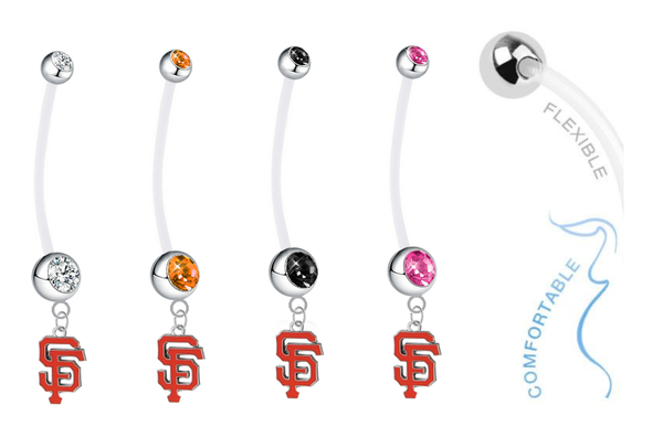 San Francisco Giants Pregnancy Maternity Belly Button Navel Ring - Pick Your Color
