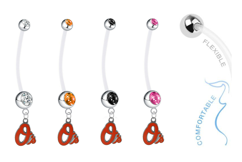 Baltimore Orioles Pregnancy Maternity Belly Button Navel Ring - Pick Your Color