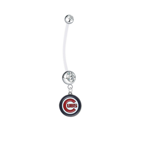Chicago Cubs Pregnancy Maternity Clear Belly Button Navel Ring - Pick Your Color