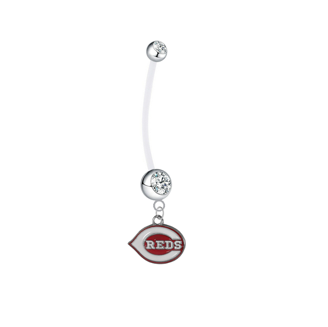 Cincinnati Reds Pregnancy Maternity Clear Belly Button Navel Ring - Pick Your Color