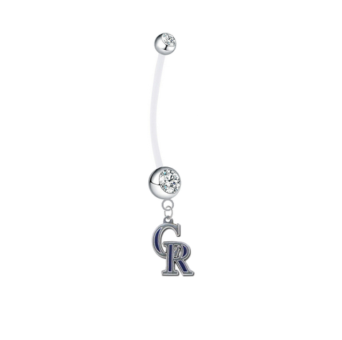 Colorado Rockies Pregnancy Maternity Clear Belly Button Navel Ring - Pick Your Color