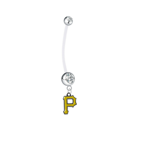 Pittsburgh Pirates Pregnancy Maternity Clear Belly Button Navel Ring - Pick Your Color