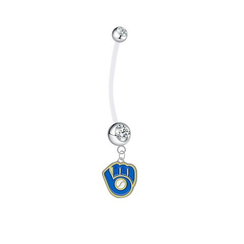 Milwaukee Brewers Retro Boy/Girl Clear Pregnancy Maternity Belly Button Navel Ring
