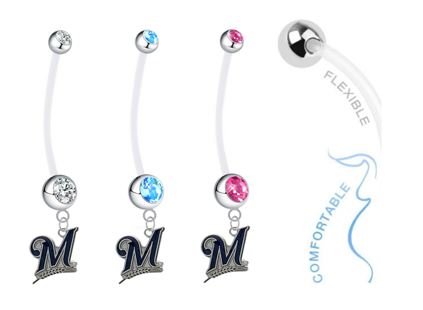 Milwaukee Brewers Boy/Girl Pregnancy Maternity Belly Button Navel Ring