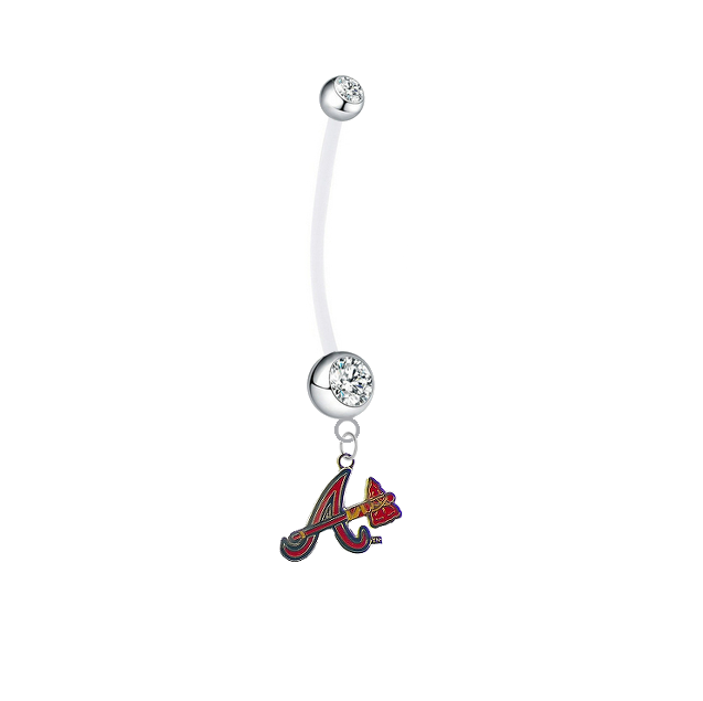 Atlanta Braves Style 3 Pregnancy Maternity Clear Belly Button Navel Ring - Pick Your Color