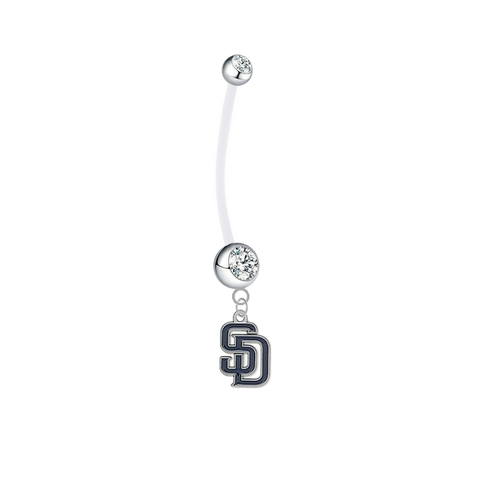San Diego Padres Pregnancy Maternity Clear Belly Button Navel Ring - Pick Your Color