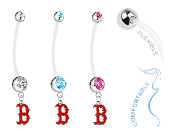 Boston Red Sox B Logo Boy/Girl Pregnancy Maternity Belly Button Navel Ring
