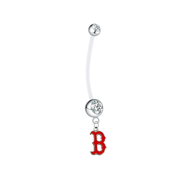 Boston Red Sox B Logo Pregnancy Maternity Clear Belly Button Navel Ring - Pick Your Color