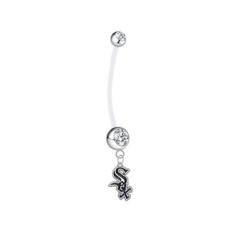 Chicago White Sox Pregnancy Maternity Clear Belly Button Navel Ring - Pick Your Color