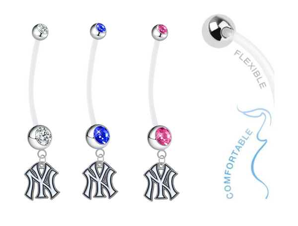 New York Yankees Pregnancy Maternity Belly Button Navel Ring - Pick Your Color