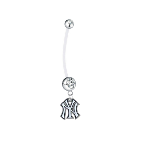New York Yankees Pregnancy Maternity Clear Belly Button Navel Ring - Pick Your Color
