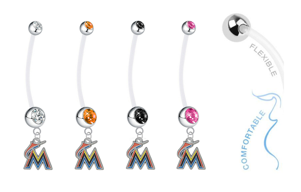Miami Marlins Pregnancy Maternity Belly Button Navel Ring - Pick Your Color