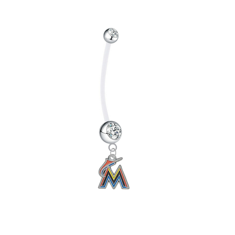 Miami Marlins Pregnancy Maternity Clear Belly Button Navel Ring - Pick Your Color
