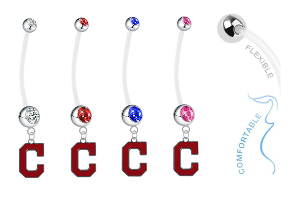 Cleveland Indians C Logo Pregnancy Maternity Belly Button Navel Ring - Pick Your Color