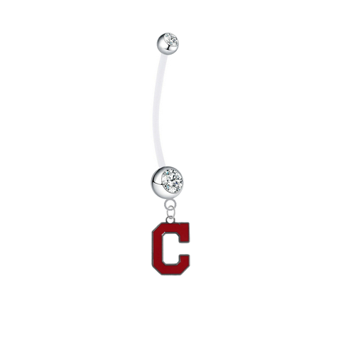 Cleveland Indians C Logo Pregnancy Maternity Clear Belly Button Navel Ring - Pick Your Color