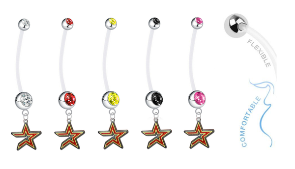 Houston Astros Pregnancy Maternity Belly Button Navel Ring - Pick Your Color