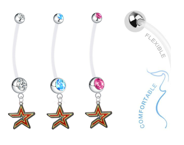 Houston Astros Boy/Girl Pregnancy Maternity Belly Button Navel Ring