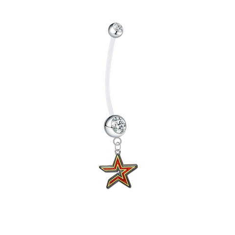 Houston Astros Pregnancy Maternity Clear Belly Button Navel Ring - Pick Your Color