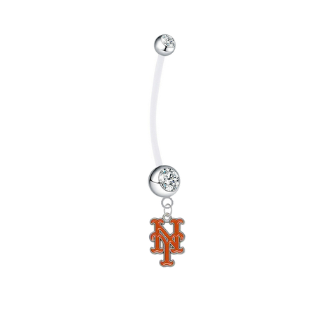 New York Mets Pregnancy Clear Maternity Belly Button Navel Ring - Pick Your Color