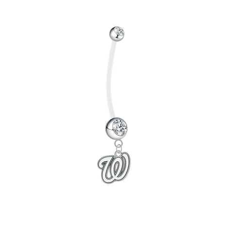 Washington Nationals Pregnancy Maternity Clear Belly Button Navel Ring - Pick Your Color