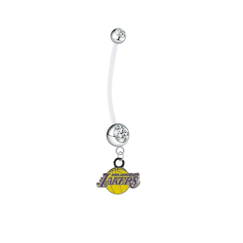 Los Angeles Lakers Pregnancy Maternity Clear Belly Button Navel Ring - Pick Your Color