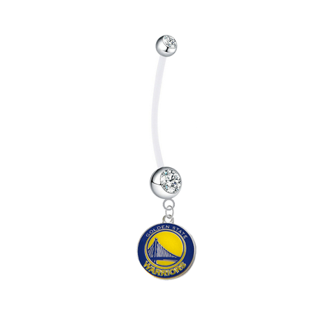 Golden State Warriors Pregnancy Maternity Clear Belly Button Navel Ring - Pick Your Color