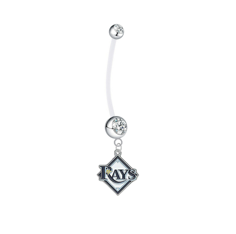 Tampa Bay Rays Pregnancy Maternity Clear Belly Button Navel Ring - Pick Your Color