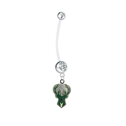 Milwaukee Bucks Pregnancy Clear Maternity Belly Button Navel Ring - Pick Your Color